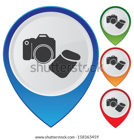 Business and Service Concept Present By Colorful Glossy Style Map Pointer With DSLR Camera, Camera,Photographer or Hobby Shop Sign Isolated on White Background  - stock photo