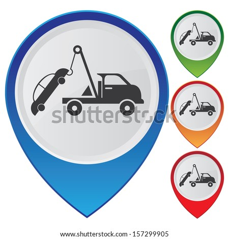 Business and Service Concept Present By Colorful Glossy Style Map Pointer With Tow Car Sign Isolated on White Background  - stock photo