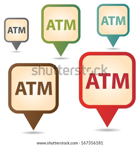 Business and Service Concept Present By Colorful Vintage Style Map Pointer Icon With ATM or Automated Teller Machine Sign Isolated on White Background  - stock photo