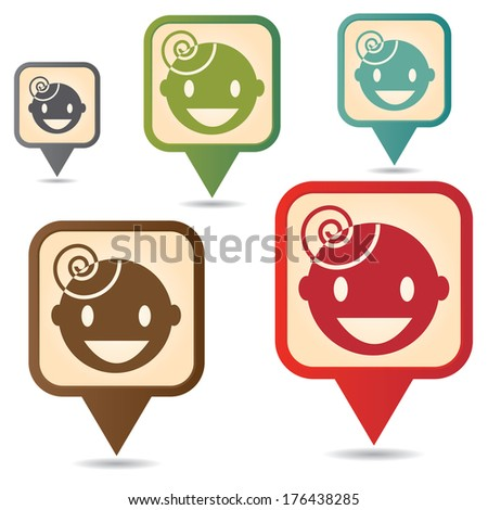 Business and Service Concept Present By Colorful Vintage Style Map Pointer Icon With Nursery School or Children Sign Isolated on White Background  - stock photo