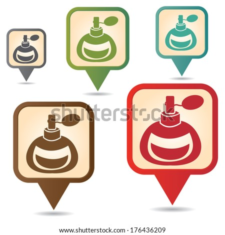 Business and Service Concept Present By Colorful Vintage Style Map Pointer Icon With Perfume or Fragrance Shop Sign Isolated on White Background  - stock photo