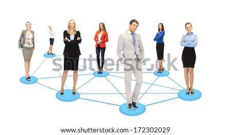 business and social concept - social or business network - stock photo