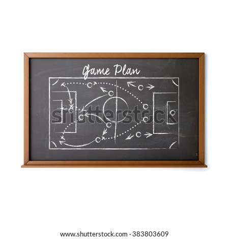Business and sports tactic on blackboard with game plan text written by white chalk. High quality 3D render, isolated on white.