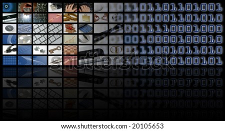 business and technology composition with many images - stock photo