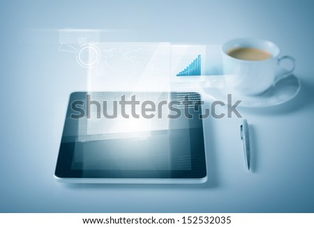 business and technology concept - tablet pc with virtual graph or chart - stock photo