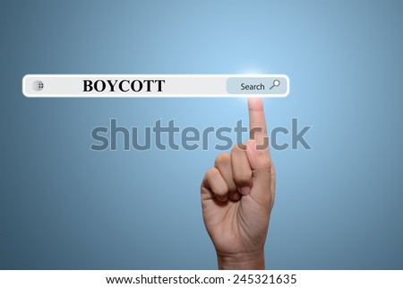 Business and technology, searching system and internet concept - male hand pressing Search BOYCOTT button.