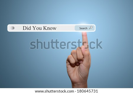 Business and technology, searching system and internet concept - male hand pressing Search Did You Know button.  - stock photo