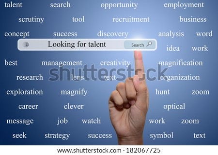 Business and technology, searching system and internet concept - male hand pressing Search Looking for talent button.