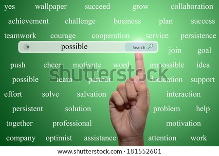 Business and technology, searching system and internet concept - male hand pressing Search possible button.  - stock photo
