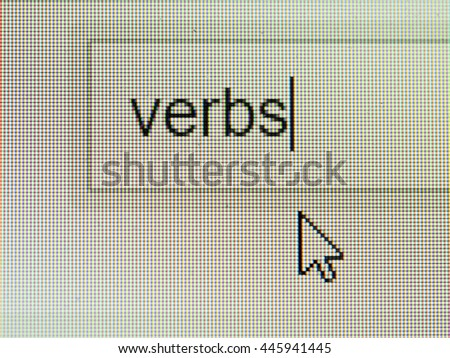 Business and technology: verbs text on screen with some copy space