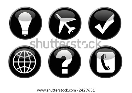 Business and Travel Icon Buttons With 3D Appearance - stock photo