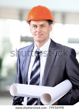 business architect at construction site - stock photo