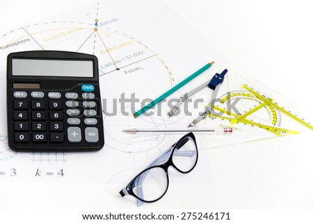 Business Architectural project, pair of compasses, glasses, rulers and calculator - business concept