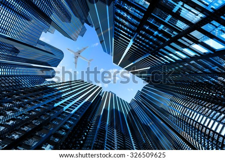 Business, architecture and real estate concept, corporate office buildings, modern high skyscrapers in downtown district of the city and plane above them - stock photo