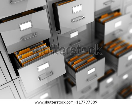 Business archive in folders, 3d illustration - stock photo