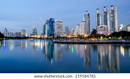 business area at twilight in Bangkok, Thailand - stock photo