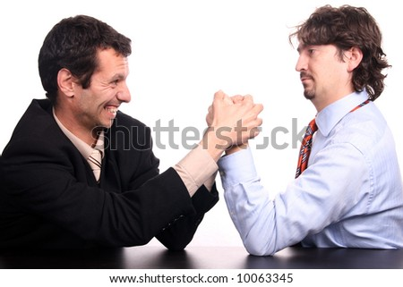 business arm wrestling - stock photo
