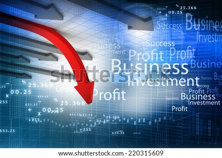 Business arrow graph background - stock photo