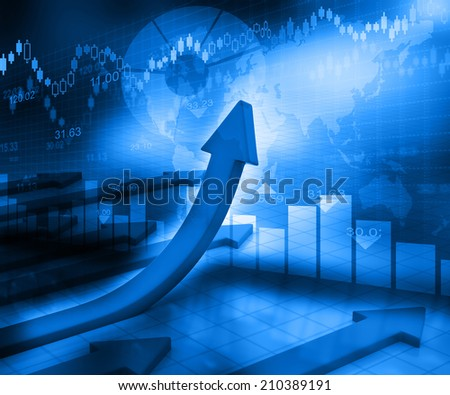 Business Arrow Graph on abstract blue background