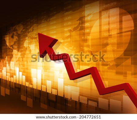 Business arrow graph with arrow showing profits  - stock photo