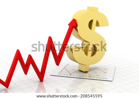 Business arrow Graph with dollar - stock photo