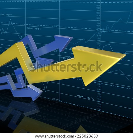 Business Arrow Graph with Investments background - stock photo