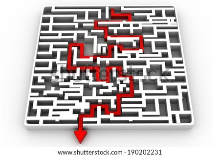Business arrow solved the maze - stock photo