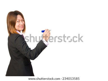 business asian woman and hold the pen.