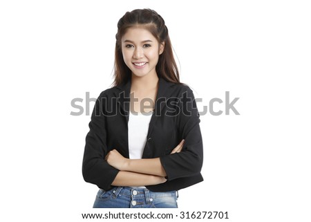 Business asian woman isolated on white background