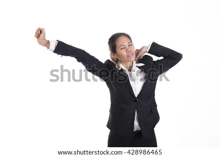 Business asian woman portrait having stretching arms raised relaxed isolated on white background. - stock photo