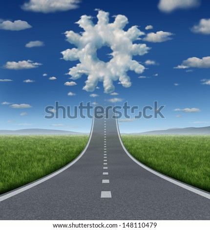 Business aspirations success concept with a road or highway going forward fading into the sky with a group of clouds shaped as a gear or cog wheel as an industry symbol of working and innovation. - stock photo