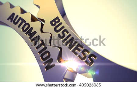Business Automation on Mechanism of Golden Gears with Glow Effect. Business Automation on the Mechanism of Golden Cogwheels with Lens Flare. Business Automation - Concept. 3D Render. - stock photo