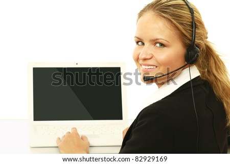 Business background: beautiful businesswoman in a work process. - stock photo