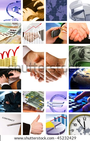 business background collage - stock photo