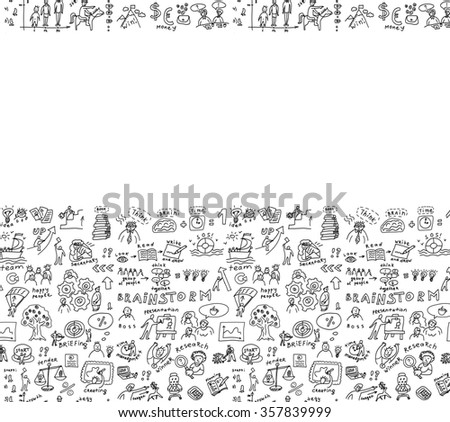 Business background doodles hand drawn black and white. Empty place for your text. Monochrome illustration.  - stock photo