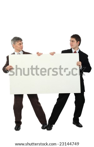 Business background: handsome businesspeople with white dysplay - stock photo