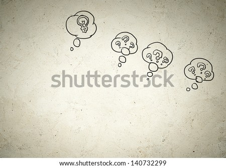 Business background image with drawn ideas and speech bubbles