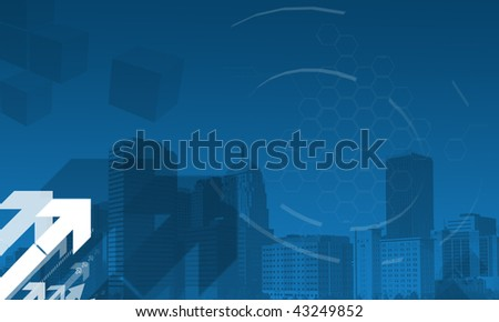 Business background in blue with arrows and urban buildings