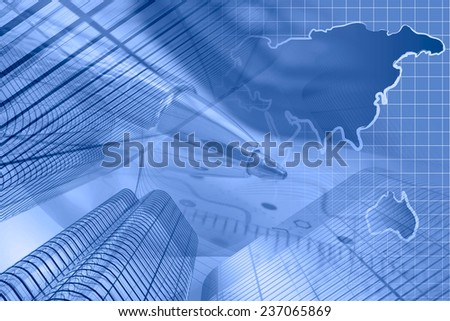 Business background in blues with buildings, map and pen. - stock photo