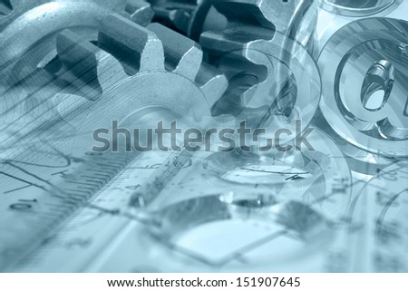 Business background in blues with gears and table. - stock photo