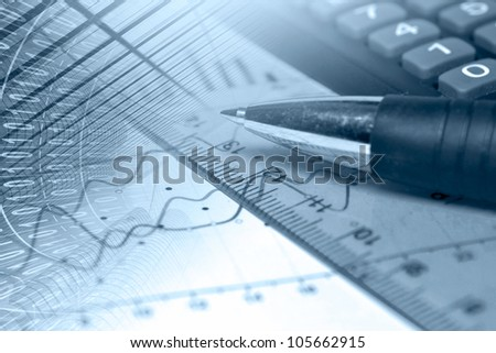 Business background in blues with graph, ruler and pen.