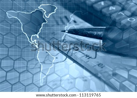 Business background in blues with graph, ruler, pen and calculator. - stock photo