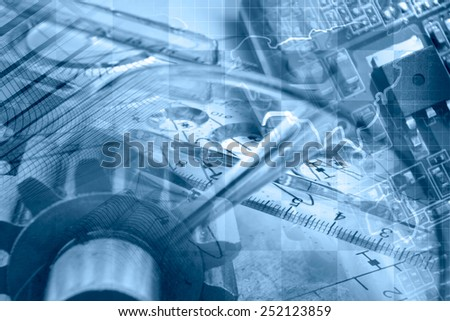 Business background in blues with map, gears and electronic device. - stock photo