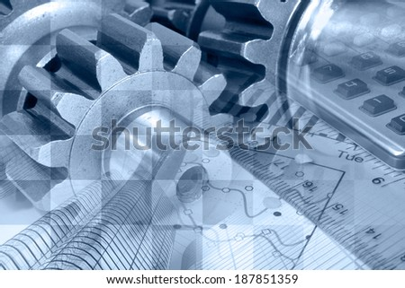 Business background in blues with ruler, gear and table. - stock photo
