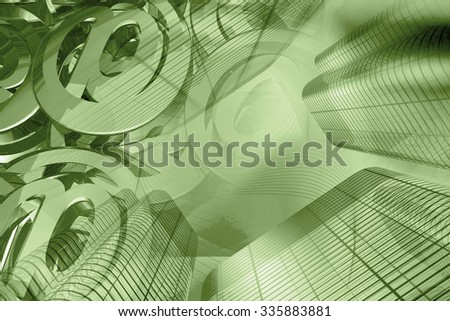 Business background in greens with buildings and mail signs. - stock photo