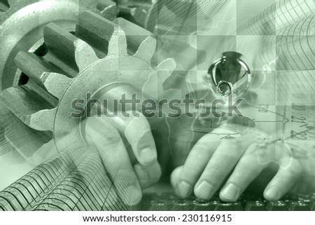 Business background in greens with hands, gear and table. - stock photo