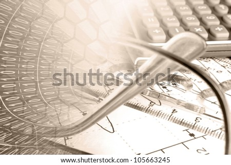 Business background in reds with graph, ruler, glasses and calculator.