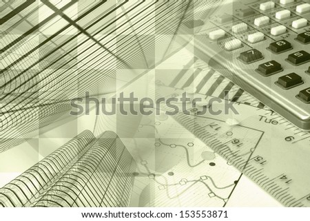 Business background in sepia with buildings, calculator and graph. - stock photo