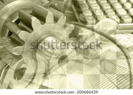 Business background in sepia with calculator, gear and graph. - stock photo