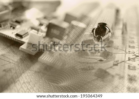 Business background in sepia with electronic device and digits. - stock photo